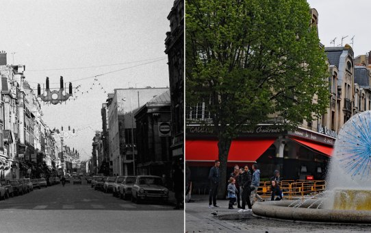 La rue Condorcet et la fontaine de la Solidarité