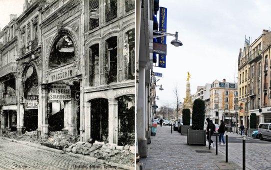 Dans les ruines après la retraite des Allemands, rue de l'Étape