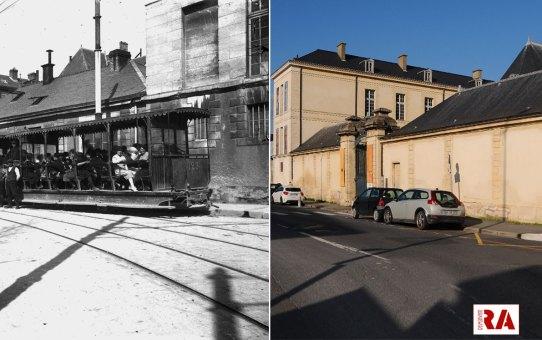Le tramway rue Simon, devant le musée Saint-Remi