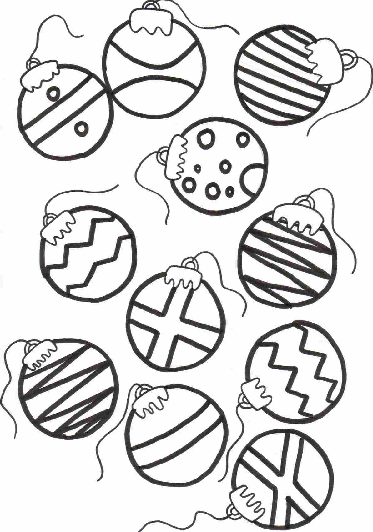 christmas baubles coloring sheet