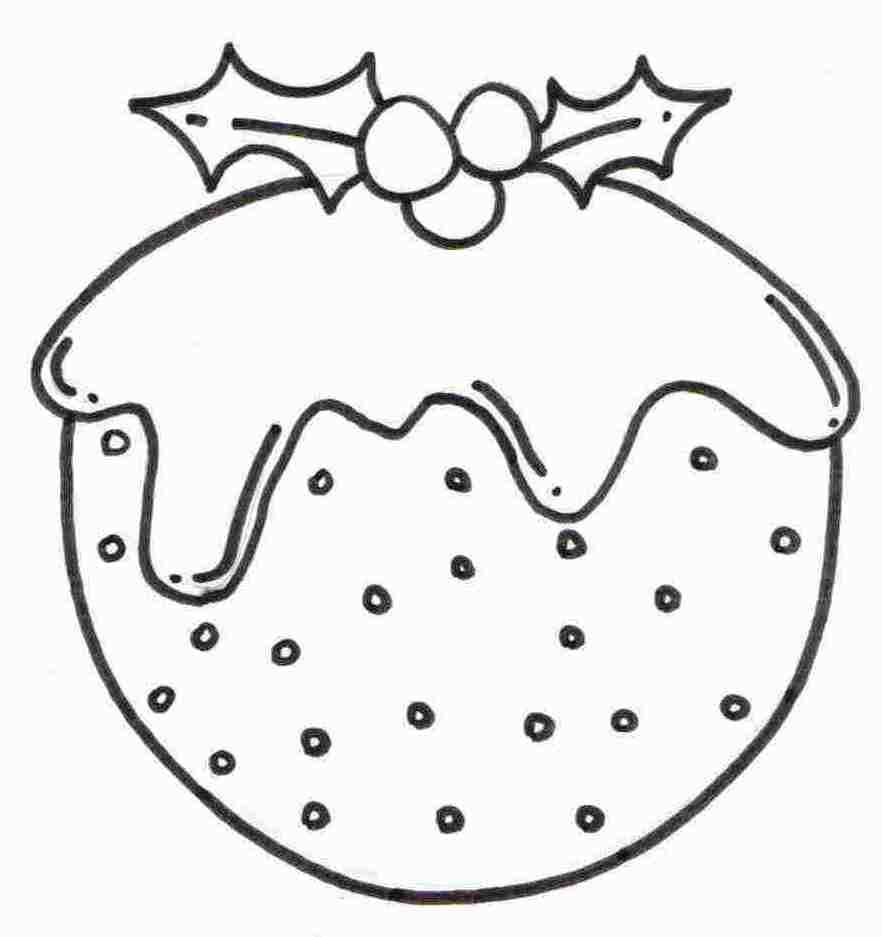 free christmas pudding coloring sheet