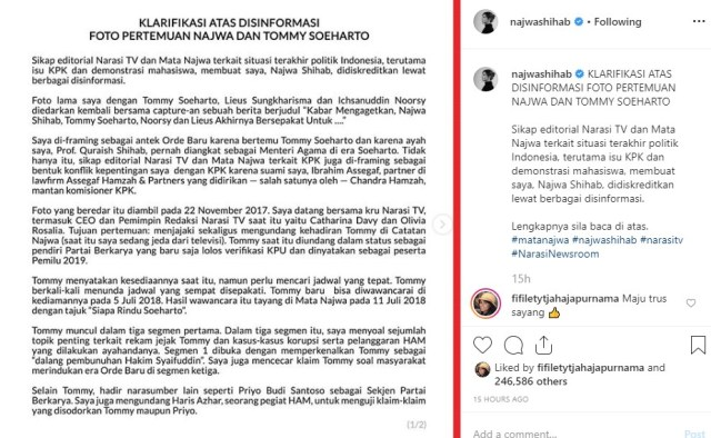 Klarifikasi Foto Pertemuannya Dengan Tommy Soeharto, Najwa: Disinformasi Yang Disebarkan Adalah Serangan Personal Yang Jahat