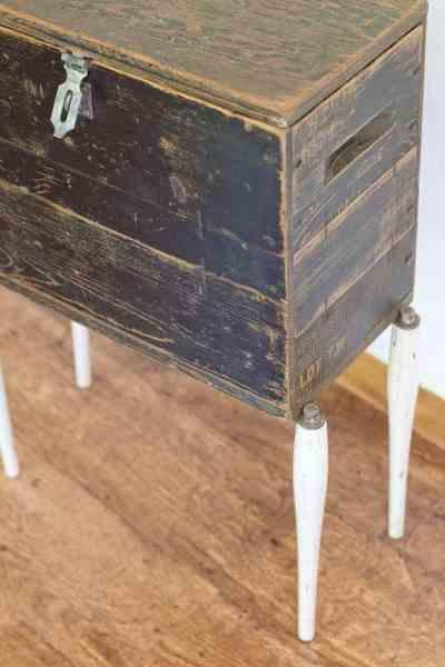 Black Wood Box with Mid-Century Legs – Farmhouse Storage