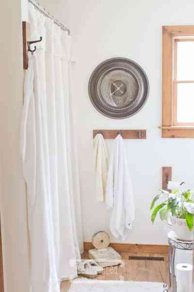 Easy Drop Cloth Shower Curtain | Farmhouse Bathroom