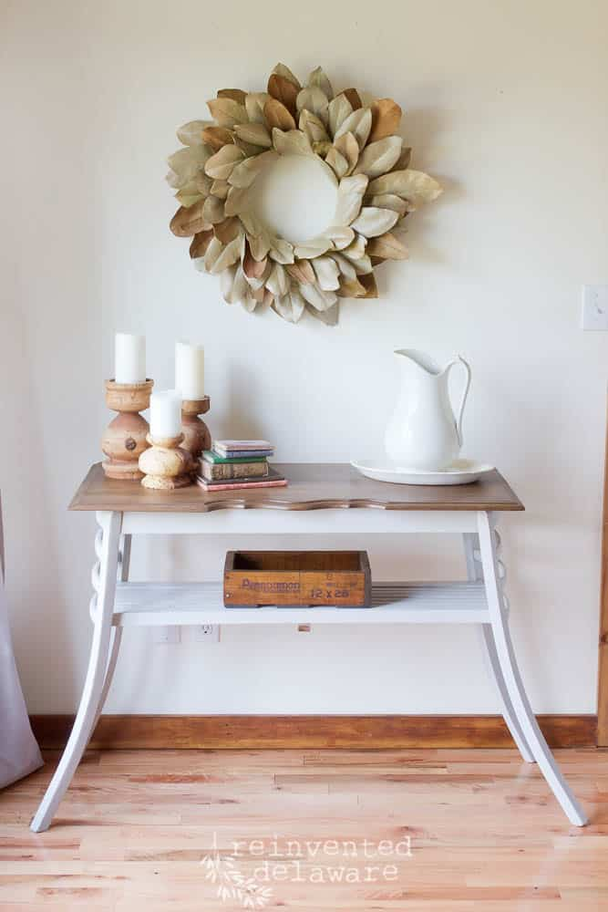 upcycled chairs into sofa table