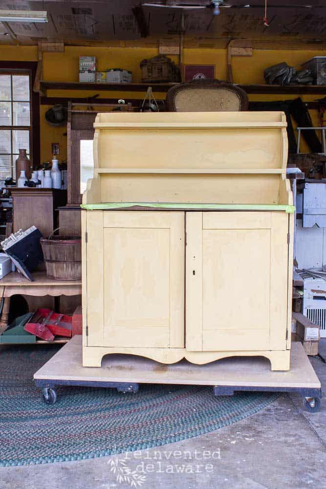 full view of antique pine cupboard painted Mustard Seed Yellow with MMS Milk Paint