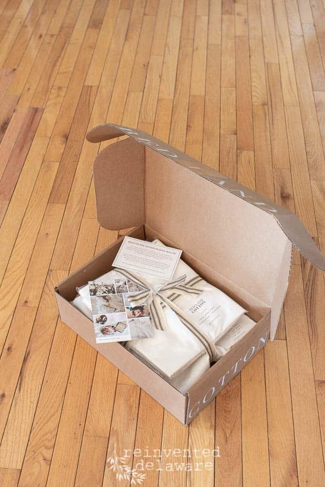 delivery box of cotton sheets from Red Land Cotton