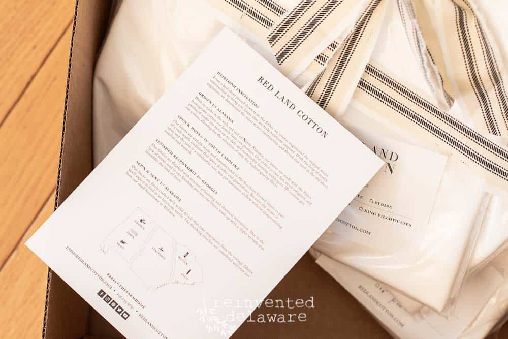 delivery box of cotton sheets from Red Land Cotton and description literature