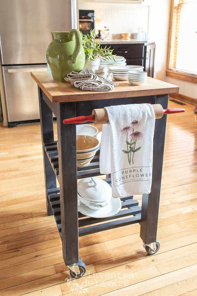 kitchen island makeover with rolling pin as towel holder painted in miss mustard seed milk paint typewriter