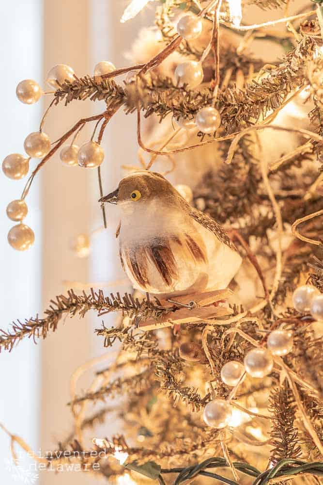 close up of feathered bird Christmas tree ornament