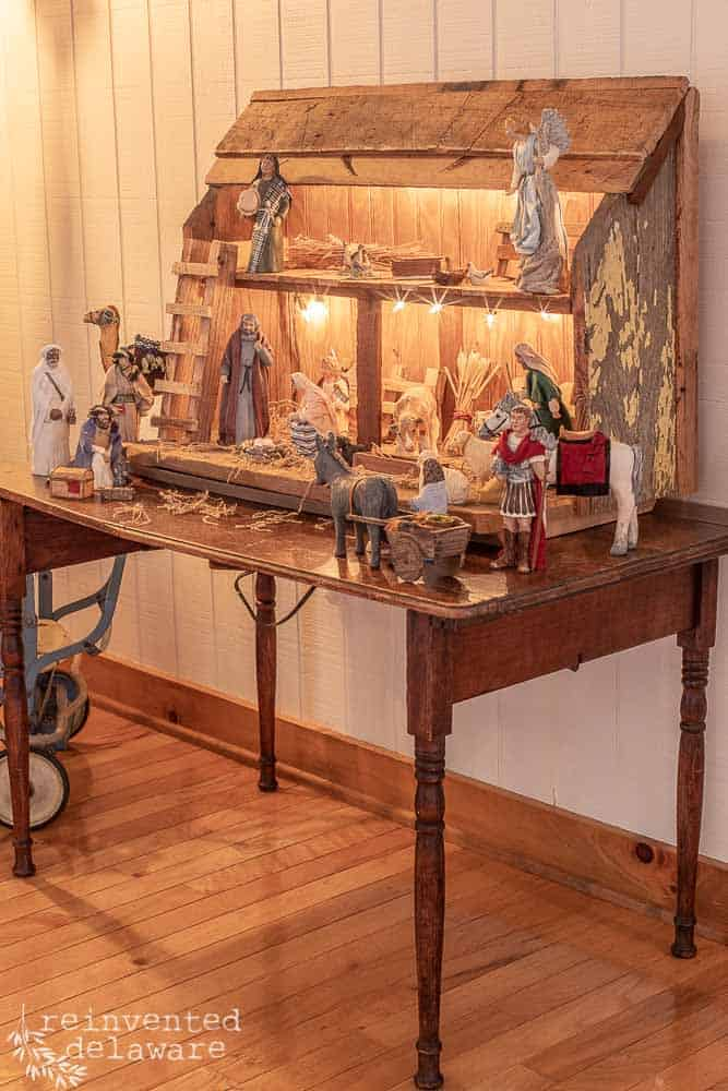 nativity scene with handmade manger and Heston figurines