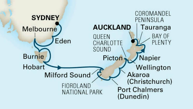 Kreuzfahrt von Australien nach Neuseeland