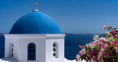 Griechenland Santorini blaues Hausdach