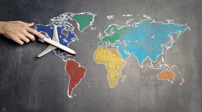 Veranstalter Weltkarte mit Flugzeug