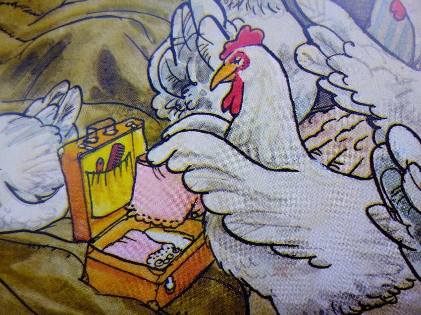 Ein Huhn, das etwas auf sich hält, vergisst bei einem Zelturlaub natürlich nicht die gute Wäsche :-)