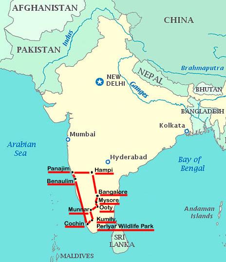 Reiseroute Indien