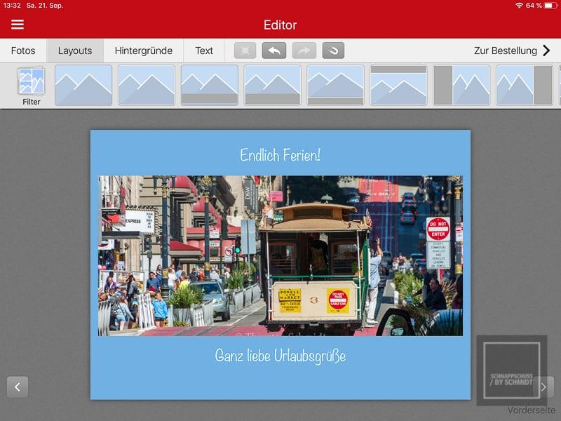 eigene Postkarten gestalten mit der cewe Postcard App