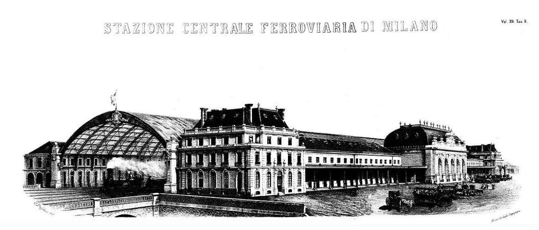 Het oude station in 1865