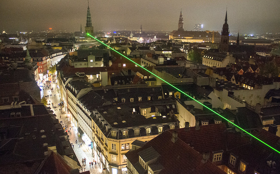 Laser over Kbh. under Copenhagen Light Festival