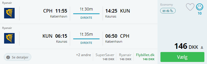 Fly til Kaunas i Litauen