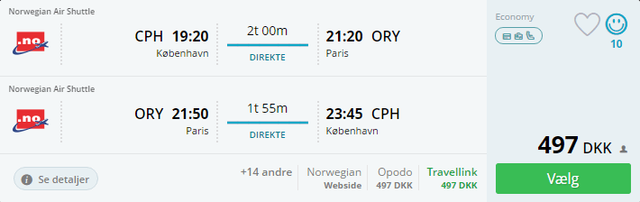 Flyv til Paris i august