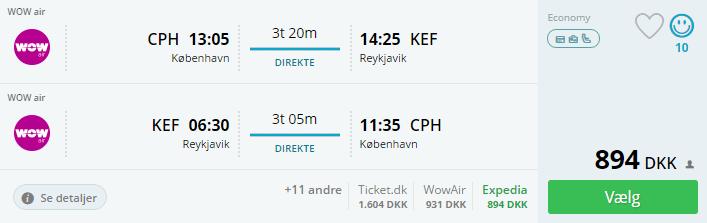 Fly til Reykjavik i Island