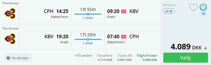 Fly til Krabi i Thailand