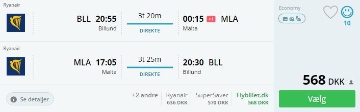 Flybillet til Malta i september 2016