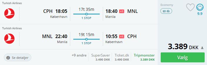 Flybilletter til Manila i Filippinerne
