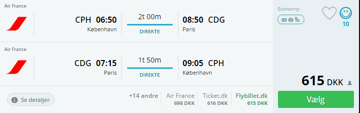 Fly til Paris i august
