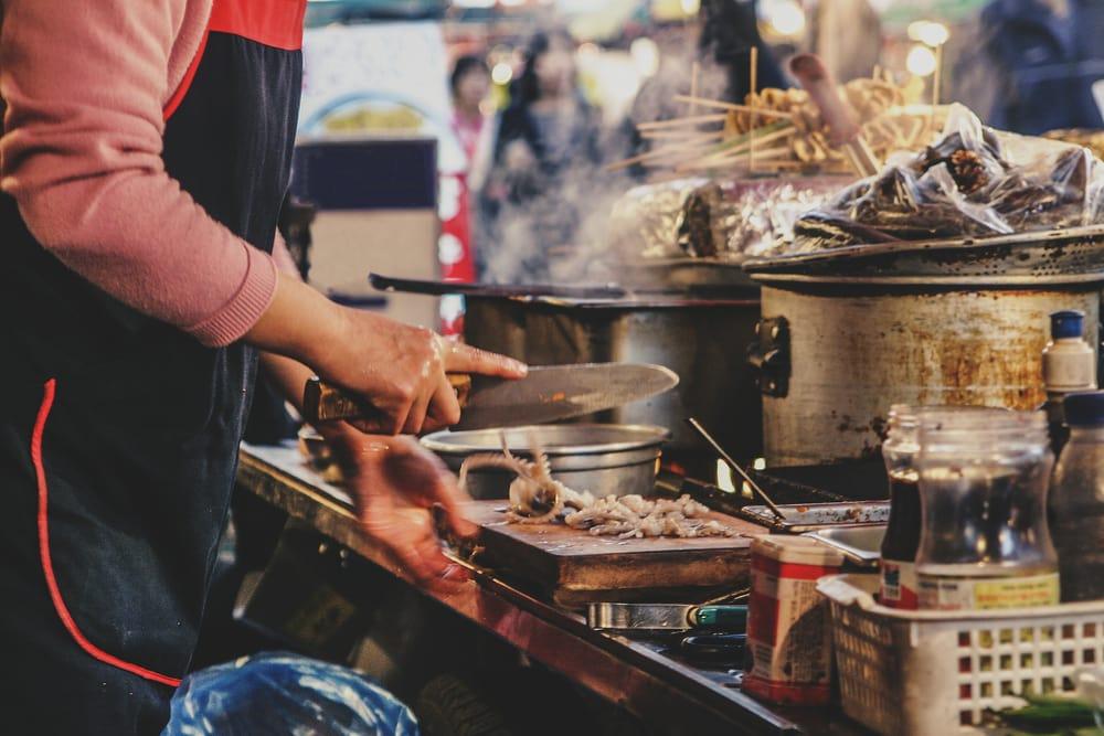 Street food i Seoul i Sydkorea