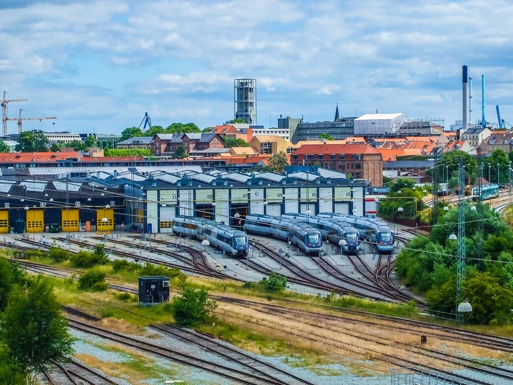 Udsigt over banelegeme i Aarhus