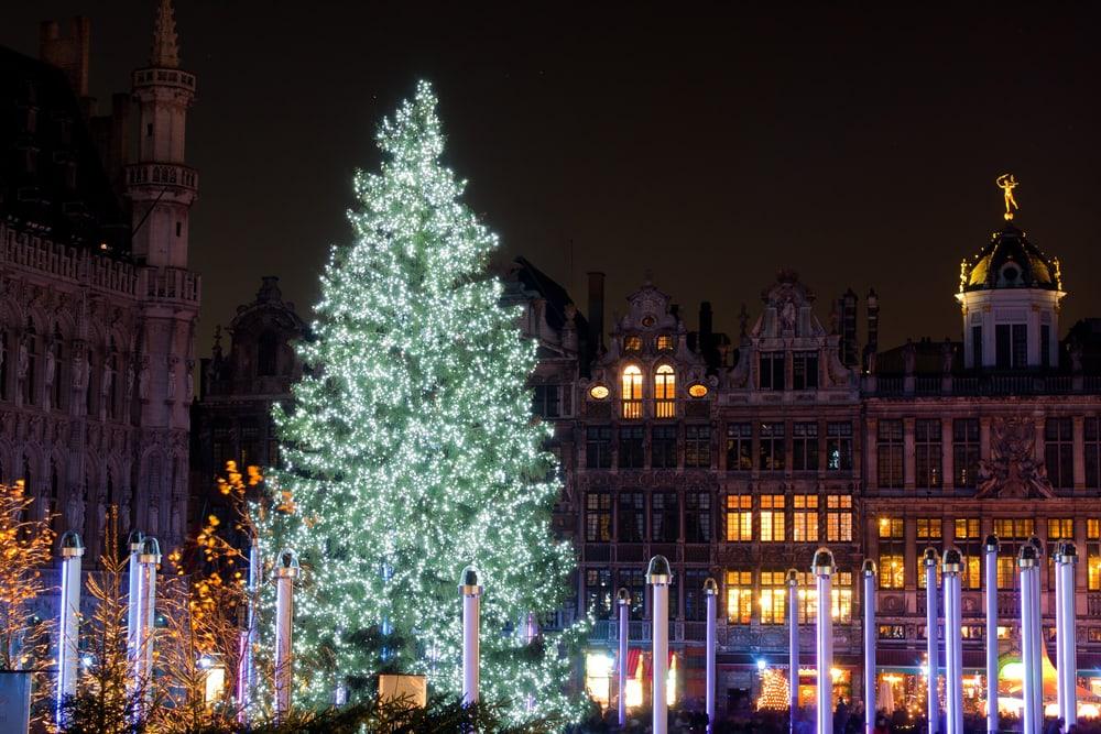 Juletræ på Grand Place - Bruxelles i Belgien