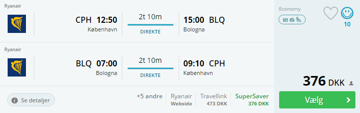 Flybilletter til Bologna i Italien