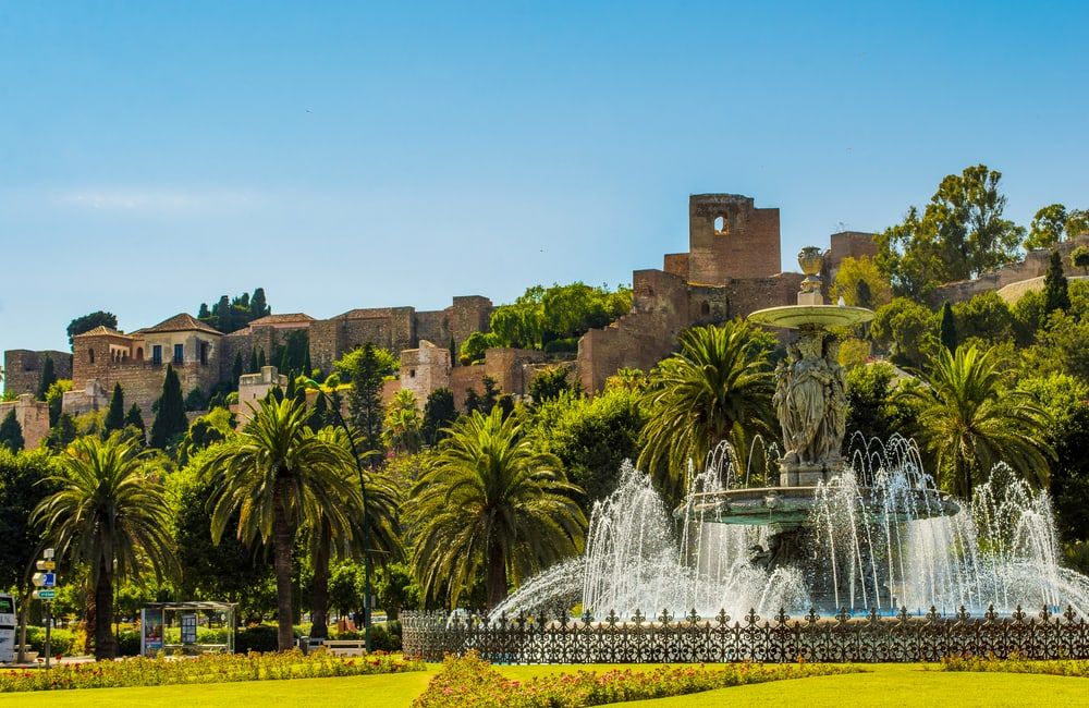 Springvand i Malaga i Spanien