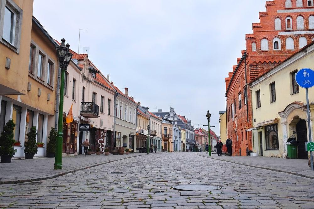 Den gamle bydel i Kaunas i Litauen