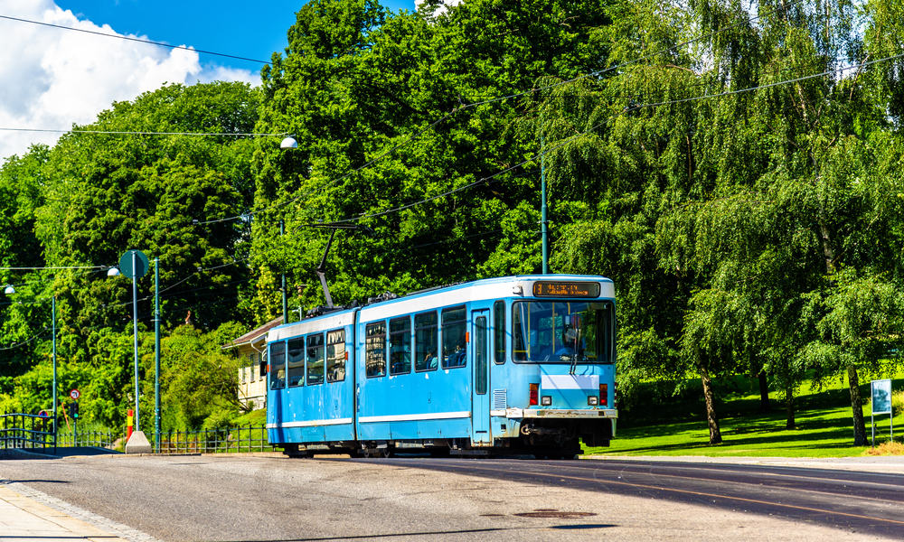 Sporvogn ved Slottsparken Station - Oslo i Norge