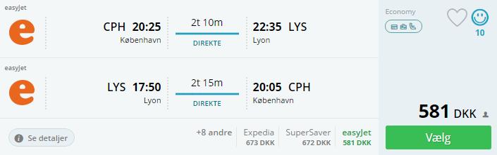 Flybilletter til Lyon i Frankrig