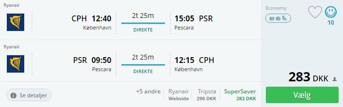 Billige flybilletter til Pescara i Italien