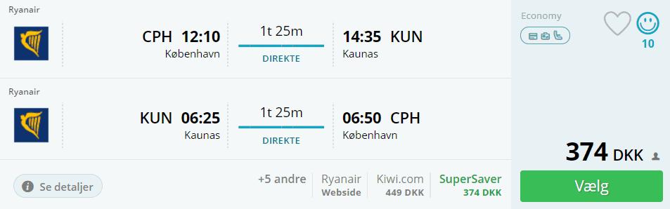 Flybilletter fra Kaunas til København