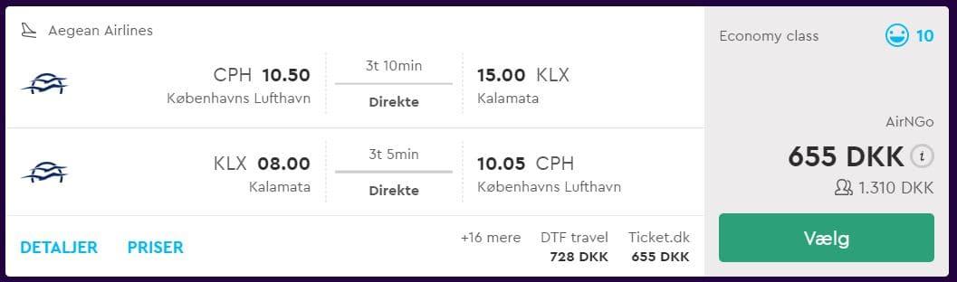 Fly fra København til Kalamata