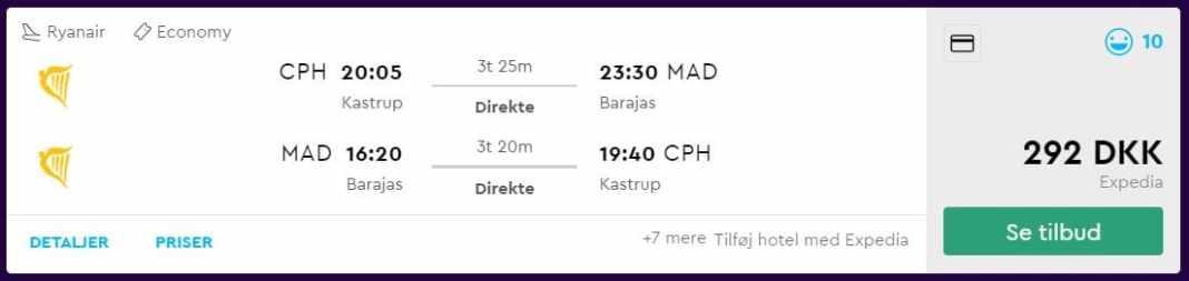 Billige flybilletter fra København til Madrid