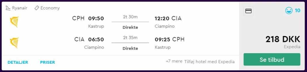 Flybilletter til Rom i december 2018