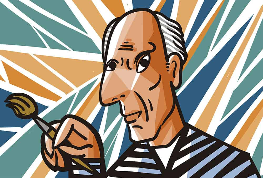 Illustration af den spanske kunstner Pablo Picasso.