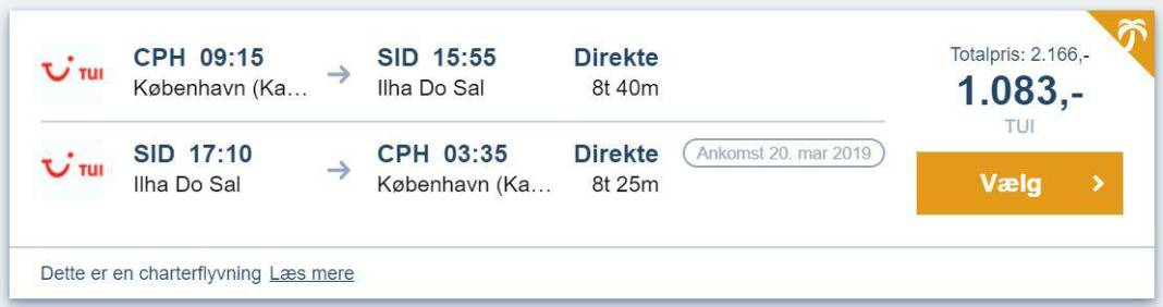 Flybilletter fra København til Kap Verde