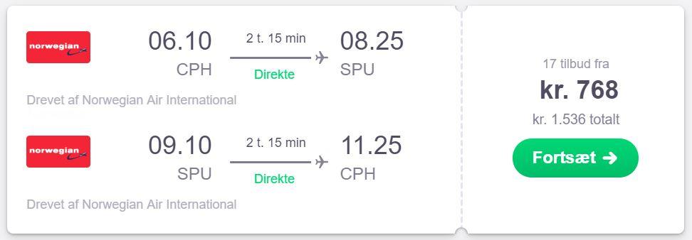 Fly fra København til Kroatien (Split)