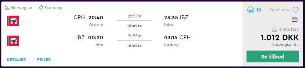 Direkte fly til Ibiza i sommerferien 2019