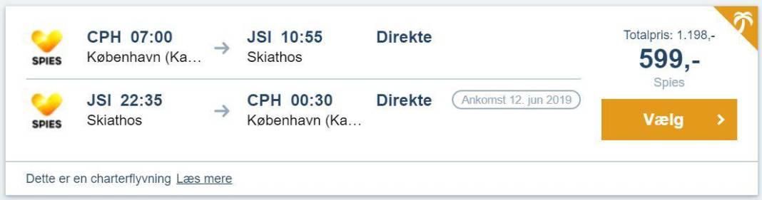Flybilletter fra København til Skiathos