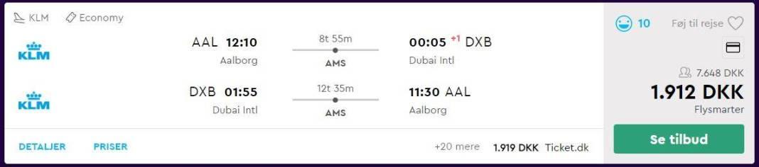 Flybilletter fra Aalborg til Dubai