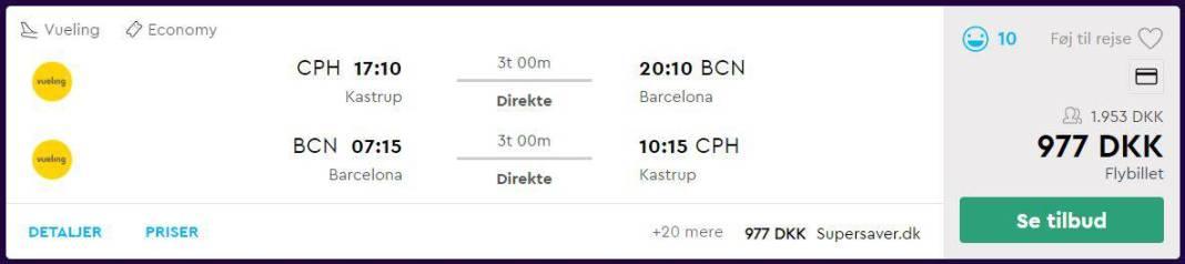 Flybilletter fra København til Barcelona